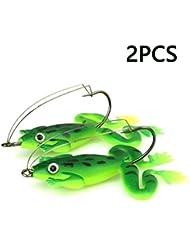 Lvedu 2pcs/lot 6cm/5G Leurres de pêche artificielle Leurre de pêche Appât Grenouille avec crochet doux Pêche Grenouille Leurres