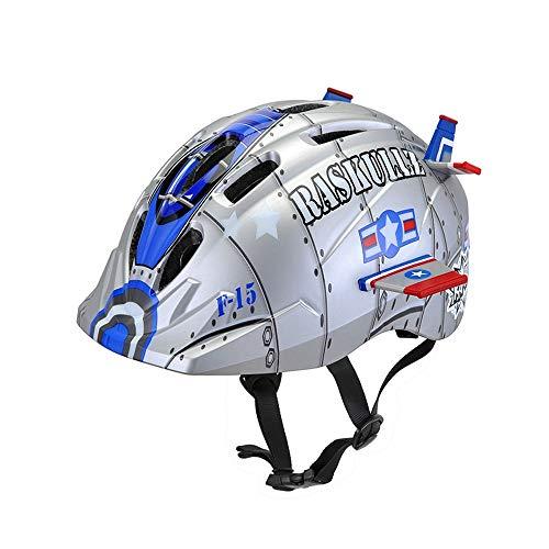 Casco Bici Ideale per Bambini e Adolescenti Caschi Perfetto per Downhill Ciclismo Scooter Helmet,Certificazione CE UE Circonferenza 48-54cm taglia25*21cm Nave da Guerra Spaz
