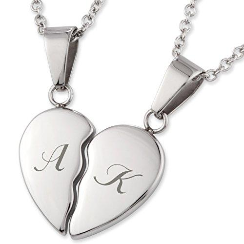 Edelstahl Freundschaftsketten Herz-Anhänger mit persönlicher Laser-Gravur und 2 Halsketten 45 cm / 50 cm