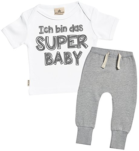 SR - Ich bin das Super Baby Bekleidungssets - Baby Geschenkset - Weiß Baby T-Shirt & Grau Baby Jogginghosen - Babyoutfit - 12-18 Monate
