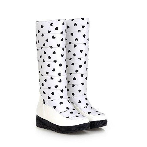 AllhqFashion Damen Pu Leder Mittler Kalb Gemischte Farbe Ziehen Auf Niedriger Absatz Stiefel Weiß