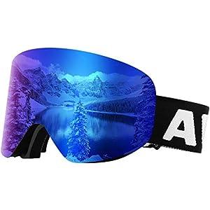 Awenia Skibrille Snowboardbrille, Anti-Nebel UV Schutz, Zylindrische Verspiegelte Linse, Rahmenlos und wechselbar, Für Damen und Herren Brillenträger
