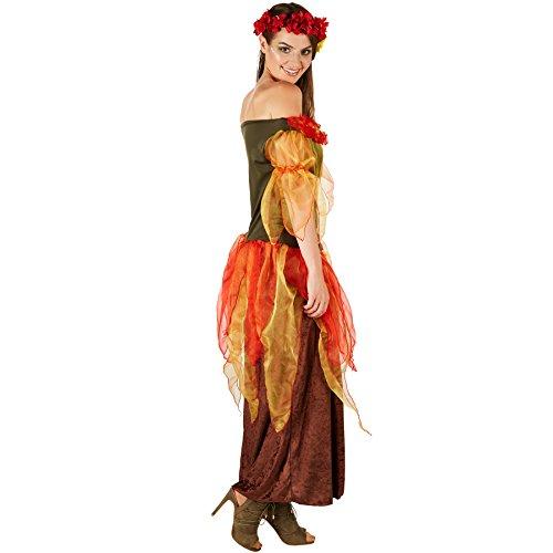 Imagen de disfraz de hada del otoño para mujer | vestido largo consta de varias capas | incl. corona floral a juego m | no. 301151  alternativa
