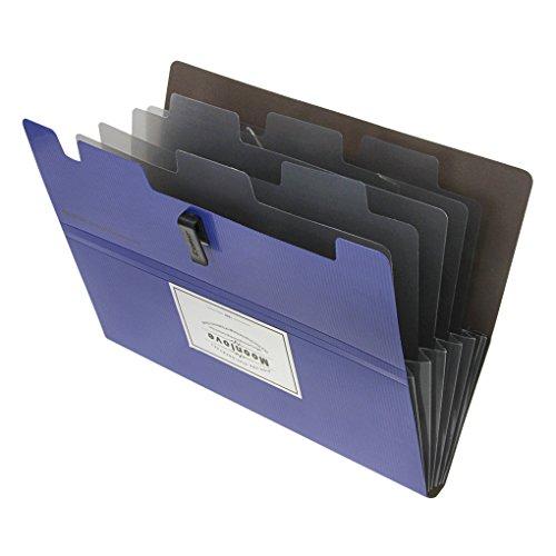 Akkordian-Mappen-Organizer, A5 Briefgröße, 6 Fächer, wasserabweisend, Kunststoff, erweiterbar, Dokumententasche, Ordner, ideal für Schule, Reisen, Büro, Zuhause blau
