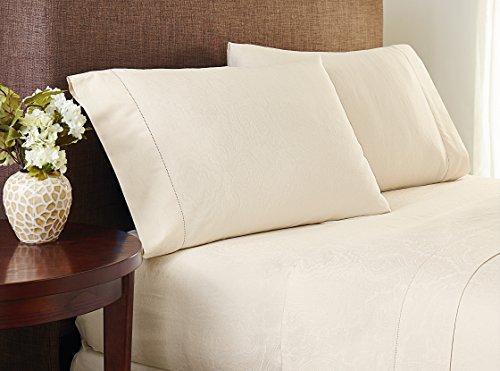 Abrichten Touch 400Fadenzahl Baumwolle Naturals Jacquard-Bettlaken-Set, California King, natur, King Pillow