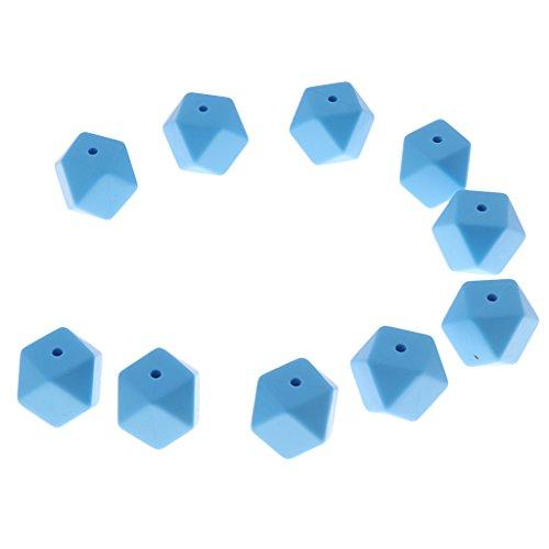 MagiDeal 10er Set Bunte Silikon Beißring Perlen DIY Halskette Armband Baby schmuck Zubehör Baby Teether Spielzeug Lernspielzug - Blau