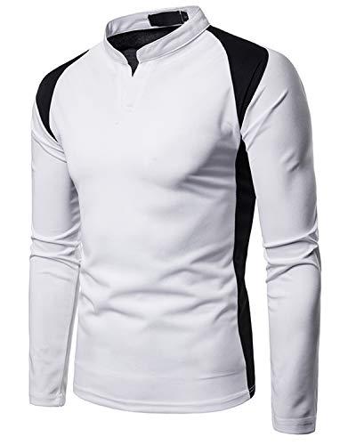Jolime polo uomo manica lunga henley t-shirt collo alla coreana casual sportivo tops da lavoro bianco xxl