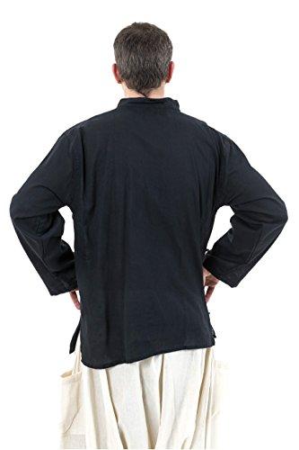 Fantazia-Herren Hemd tibetaine Lateral-Öffnung Schwarz - Schwarz