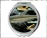 Miroir, miroir compact, thème du poisson en miroir du miroir de poche, miroir portable 1 X 2X Magnifying