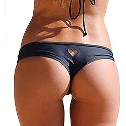 Adesugata Bikini Bottom,Bas de bikini sexy pour femme en forme de coeur maillots de bain Slip bikini brésilien String String tanga Maillot de bain XL noir