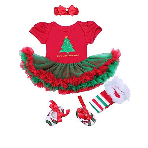 (BabyPreg® Baby Mädchen Mein erstes Weihnachten Sankt Kostüm-Partei-Kleid 4PCS (S/ 3-6 Monate, Weihnachtsbaum))