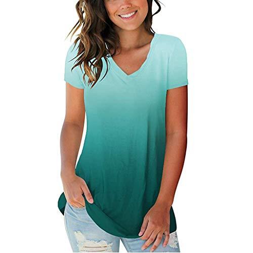 POPLY Frauen Plus Size T-Shirt, Damenmode Farbverlauf V-Ausschnitt Kurzarm Tops Bluse(Green,XL)