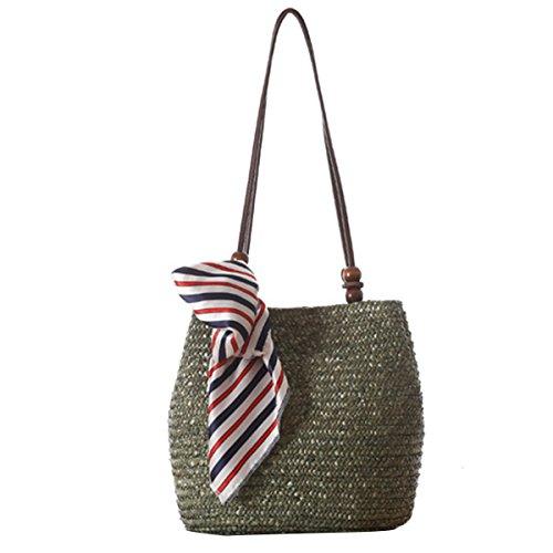 nd Schultertasche Sommer Stroh Tote Strand Tasche Einkaufen Handtasche Hobo Handtasche ()