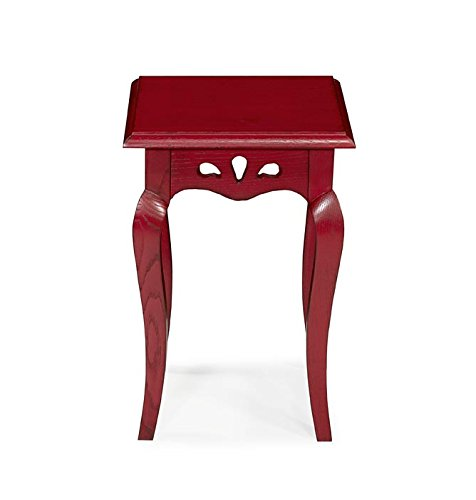Macazba Selette Basse, Table d'appoint Hortense - Couleur Rouge patiné - 100% chêne Massif - 30X30 H 45