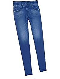 Pantalones Vaqueros Imitado Inconsútil de Leggings para Mujeres con Bolsillos,Color Azul(L)
