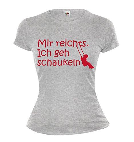 buXsbaum Girlie T-Shirt Mir reichts. Ich geh schaukeln-XS-Heathergrey-Bordeaux