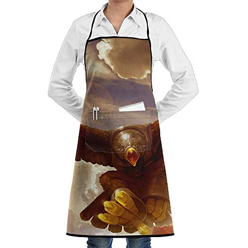 Kitchen Bib Apron Neck Waist Tie Center Kangaroo Pocket Giant Eagle Waterproof