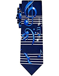 cravate musical notes big blue white on navy