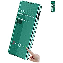 hyujia Compatible Samsung Galaxy S10 Housse étui Green/Cover Miroir Flip Standing Clear View Translucide Case/Mince PU Antichoc Bumper Protection Housse étui Cover pour Samsung Galaxy S10 2019