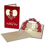 Hochzeitskarte | 3D Pop Up | Juwel-Weinrot |inkl. Umschlag | 1x Glückwunschkarte & Hochzeitseinladung