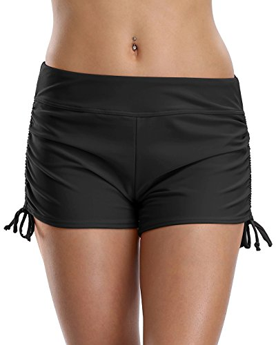 Attraco Damen Bikinihose Schnürung Badehose Hotpants Chic Tankinihose Mehrfarbig Schwarz L (Badeanzug Damen Unten Mix)