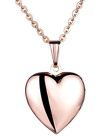 Yumilok Jewelry collier pendentif de photo en acier inoxydable au titane le cœur peut ouvrir pour femme fille or