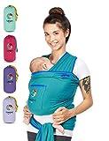YUNIQME® Tragetuch fürs Baby NEU! - Elastisches Babytragetuch aus 100% Baumwolle - GOTS - Babysling für Neugeborene - Bauch Babytrage I Baby Zubehör - OEKO TEX  - Farbkombination Tuch petrol