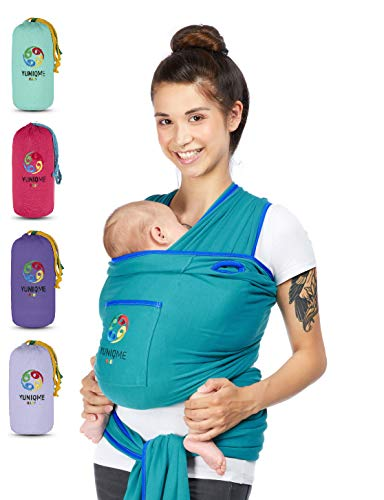YUNIQME® Tragetuch fürs Baby NEU! - Elastisches Babytragetuch aus 100{31058b478d4984358ca0cdecfe946b609562e8cbb42cb39f818fdeca1348c59d} Baumwolle - GOTS - Babysling für Neugeborene - Bauch Babytrage I Baby Zubehör - OEKO TEX  - Farbkombination Tuch petrol