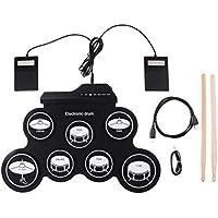 SUPVOX Juego de batería electrónica de Mesa Batería de Prácticas Eléctrica Plegable Portátil Pedales y Baquetas