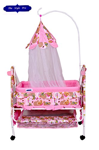Pink Royal Crib and cradle with Swing ( Baby jhula ) Mosquito Net and Multiple Function.