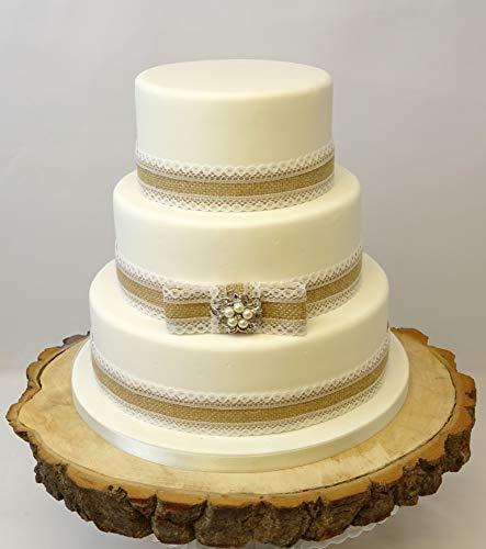 The Cake Emporium Ltd Vintage Rustique gâteau de Mariage en Toile de Jute Dentelle 36 mm Perle Broche décorative pour Ruban