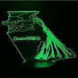 Juego de tronos LED lámpara para niños dragon fire dragon luz nocturna para niños dormitorio 3d luz de la noche regalo de vacaciones de cumpleaños