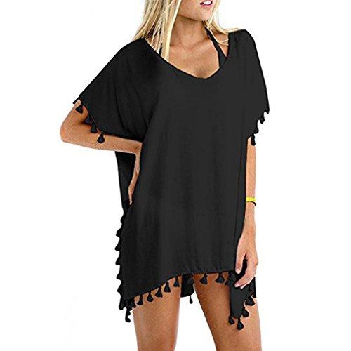 UFACE Strand Bluse Sonnenschutz Shirt Lose GroßE GrößE Frauen T-Shirt Quaste Badeanzug Bikini Vertuschen Sonnencreme (XL, Stil 3-Schwarz)