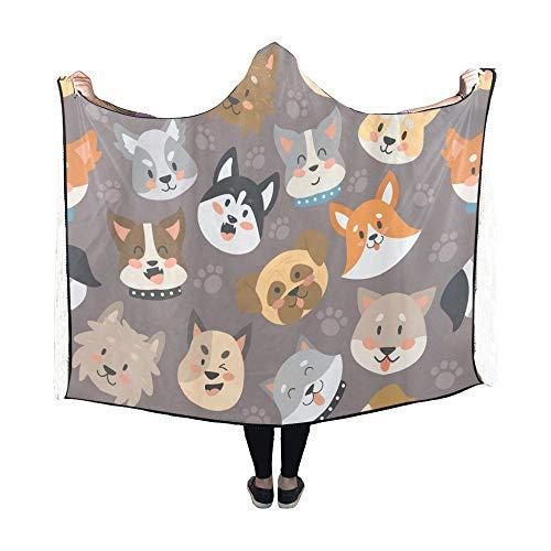 JOCHUAN Mit Kapuze Decke Dogs Heads Blanket 60 x 50 Zoll Comfotable Hooded Throw Wrap Mop Heads 60