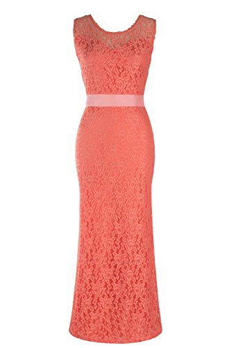 Babyonline® Damen Elegant Cocktailkleid Rückenfrei Brautjungfer Spitzen Kleid Fishtail Langes Abendkleid Schwarz/Rot Rosa