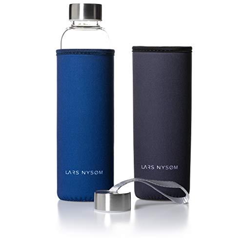 LARS NYSØM umweltfreundliche Pure Life α Design Trinkflasche Sport Glas I 1 x 550ml auslaufsichere Glasflasche BPA frei inkl. 2 x Deckel und 2 x Schutzhülle I Borosilikatglas Getränkeflasche 320g