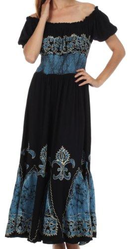 Sakkas A46 Batik Lilie gestickte Bauern Kleid - Schwarz / Blau - One (Kleid Schwarz Bauer)