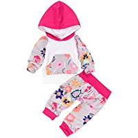 Borlai Conjuntos con Estampado Floral de 0-24 Meses para Niñas Recién Nacidas con Capucha + Pantalones Legging