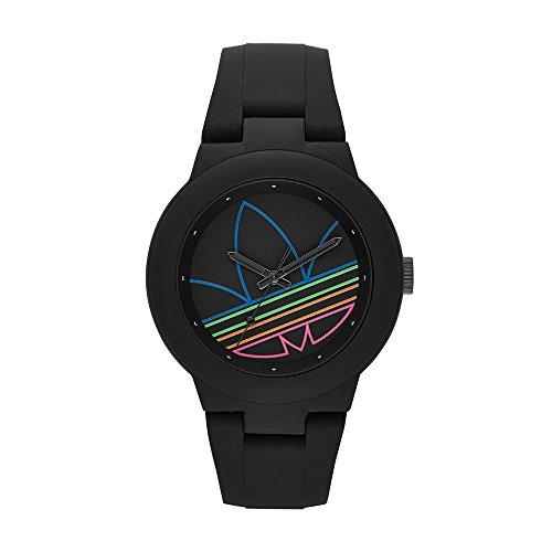 Adidas Femme 41mm Noir Silicone Bracelet Acier Inoxydable Boitier Montre adh3014