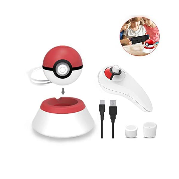 4PCS Pokeball Plus Charger Kit for Pokeball Plus 2018, including Pokemon Pokeball Plus Stander, Controller Grip, Joystick Caps & 2.4A Pokeball Charger Cable for Nitendo Switch Accessories Pokemon Ball 41GfU6UC1xL