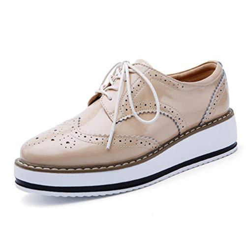 Mujeres Plataforma Zapatos Mujer Cuero Pisos Encaje