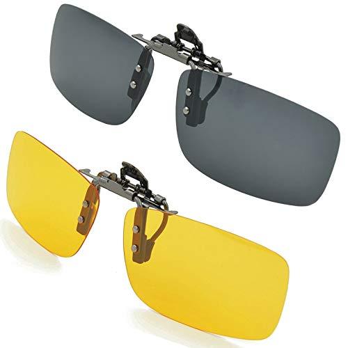 Splaks Sonnenbrille Aufsatz, 2-Stück Clip on Polarisiert Clip polarisierte Sonnenbrille Flip up Sonnenbrille Clip Gegen Licht für Frauen und Männer(Schwarz+Gelb)