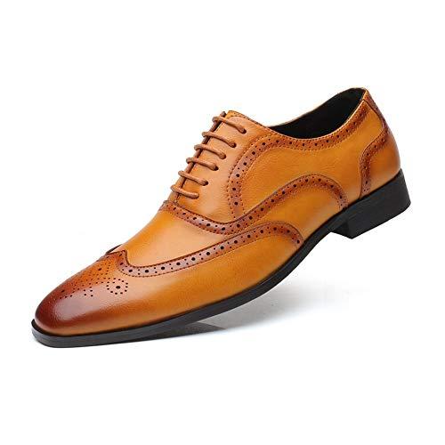 CATEER Schnüren Sie Sich Oben niedrige Ferse Oxfords Weinlese Brogues Schuhe Gummisohle formales braunes Leder Bequeme Größe 6-49 (Farbe : Gelb, Größe : 40EU)