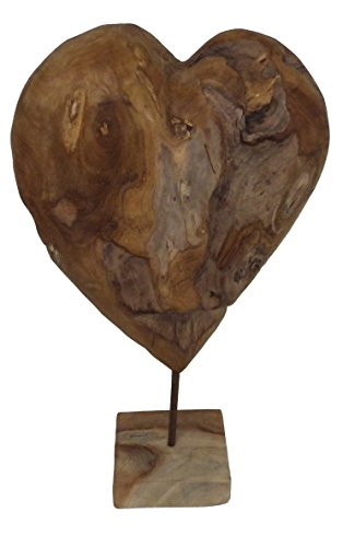Beho Natürlich gut in Holz Herz auf Ständer groß 2690 Skulptur aus Teakholz Vollholz 56cm hoch