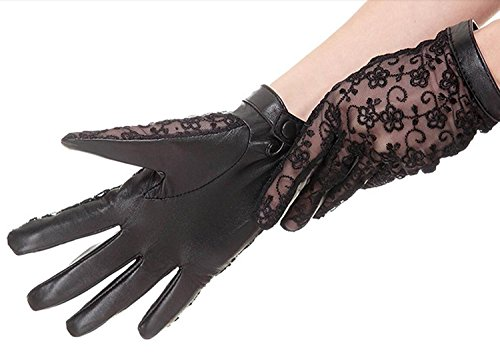 DIDIDD Frauen 'S Leder mit Rüschen besetzte Handschuhe Short Classic Half Finger dünn 6 (Handschuhe Spitzen Handgelenk Länge Rüschen)