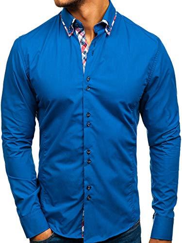BOLF Herren Hemd Jeanshemd Elegant Langarm Slim Fit Casual Style 4704-1 Blau M [2B2] | 05902646927428
