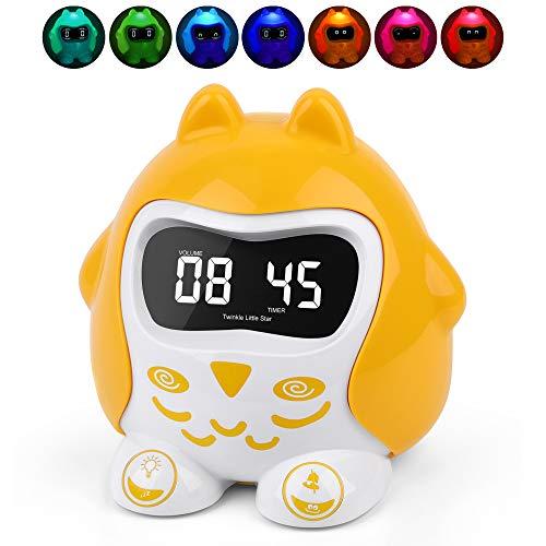 Wecker für Kinder, 7-farbiges Nachtlicht, Helligkeit Dimmer, Sleep/Auto-Off-Timer, Schlaftraining Uhr & Schlaflieder, Snooze, Lautstärkeregelung, 12/24H, DST, Batterie/Wechselstrom betrieben für Baby -