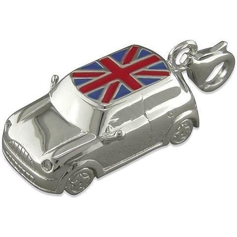 Grande Mini, motivo Union Jack, per auto con Clip in argento Sterling su Charm, per bracciali stile Thomas Sabo