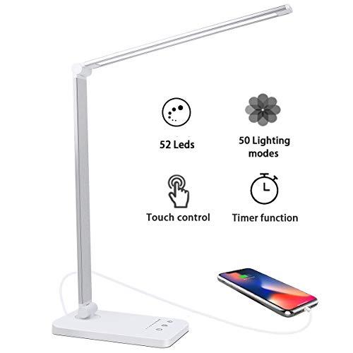 Lampada da Tavolo 52 LED,USB Ricaricabile Lampada da Scrivania,Dimmerabile 10 Luminosità × 5 Modalità,Pieghevole Touch Controllo Lampade per Ufficio,Timer 30/60 Mins,funzione di memoria