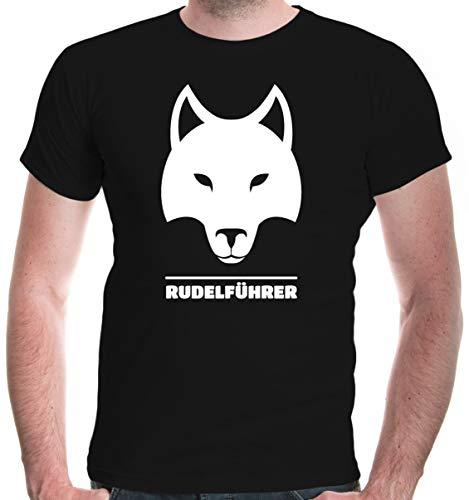 buXsbaum® Herren T-Shirt Rudelführer   Wolf Hund Funshirt   M, - Anführer Kostüm Männer
